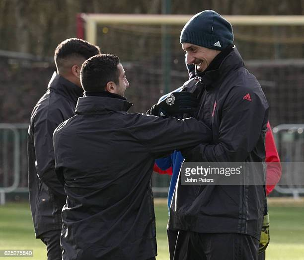 Henrikh Mkhitaryan and Zlatan Ibrahimovic of Manchester United in action during a first team training session at Aon Training Complex on November 23,...