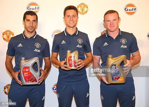 Henrikh Mkhitaryan Ander Herrera and Wayne Rooney of Manchester United attend a press conference to announce Gulf Oil as new club partners on July 20...