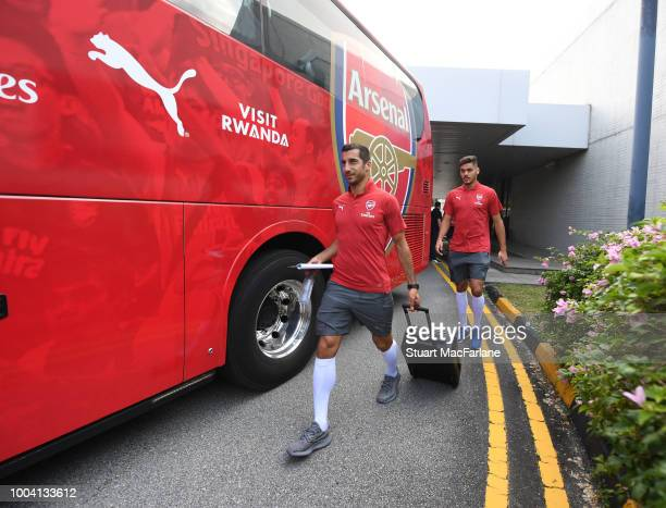 Matteo Gunedouzi and Alex Lacazette of Arsenal at Singapore airport on July 23 2018 in Singapore
