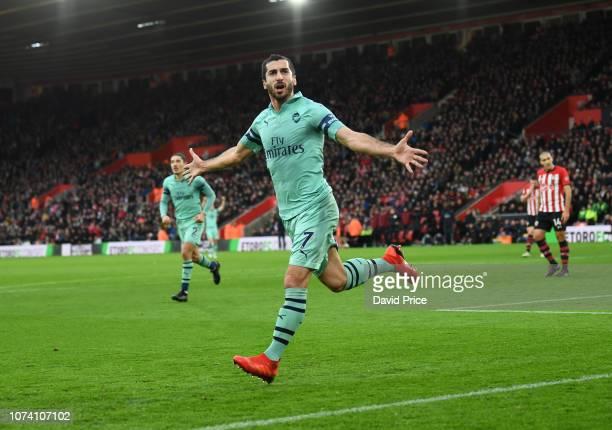 Henrikh Mkhitaryan celebrates scoring Arsenal's goal during the Premier League match between Southampton FC and Arsenal FC at St Mary's Stadium on...