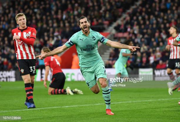 Henrikh Mkhitaryan celebrates scoring Arsenal's goal during the Premier League match between Southampton FC and Arsenal FC at St Mary's Stadium on...