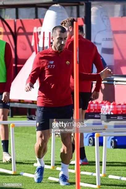 Henrikh Mkhitaryan during an AS Roma training session at Centro Sportivo Fulvio Bernardini on October 14, 2021 in Rome, Italy.