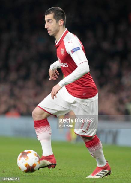 Henrikh Mkhitaryan during the UEFA Europa League Round of 16 2nd leg match between Arsenal and AC MIian at Emirates Stadium on March 15 2018
