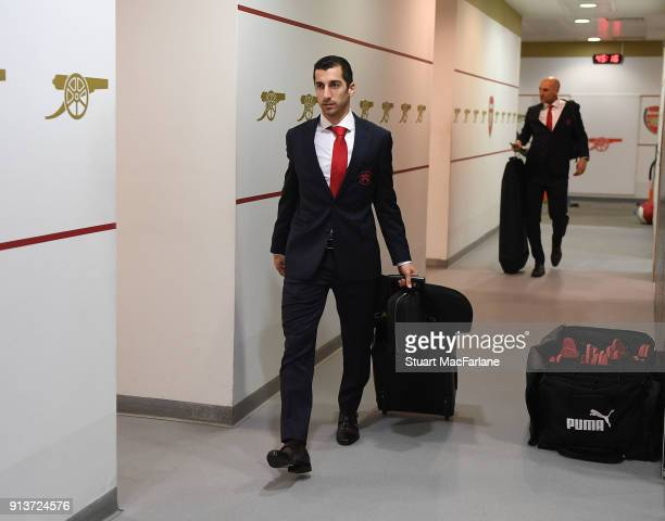 Henrikh Mkhitaryan in the Arsenal changing room before the Premier League match between Arsenal and Everton at Emirates Stadium on February 3 2018 in...