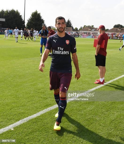 Henrikh Mkhitaryan of Arsenal after the preseason friendly between Boreham Wood and Arsenal at Meadow Park on July 14 2018 in Borehamwood England