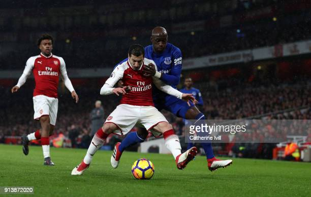 Henrikh Mkhitaryan of Arsenal and Eliaquim Mangala of Everton during the Premier League match between Arsenal and Everton at Emirates Stadium on...
