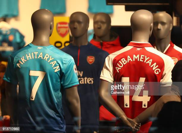Henrikh Mkhitaryan of Arsenal and PierreEmerick Aubameyang of Arsenal shirts are seen for sale prior to the Premier League match between Arsenal and...