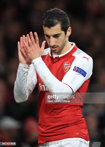 Henrikh Mkhitaryan of Arsenal applauds the fans during the UEFA Europa League quarter final leg one match between Arsenal FC and CSKA Moskva at...