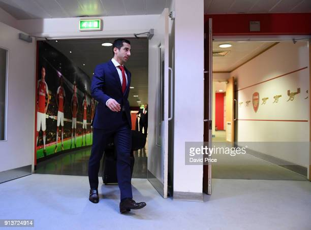 Henrikh Mkhitaryan of Arsenal arrives at the stadium before the Premier League match between Arsenal and Everton at Emirates Stadium on February 3...