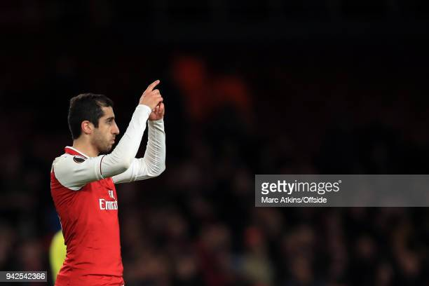 Henrikh Mkhitaryan of Arsenal asks to be substituted during the UEFA Europa League quarter final leg one match between Arsenal FC and CSKA Moskva at...