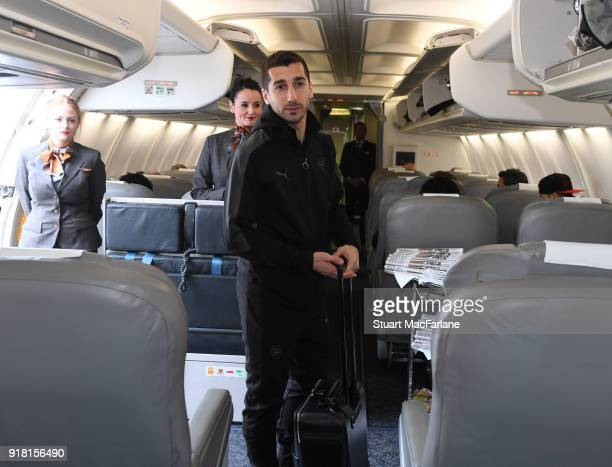 Henrikh Mkhitaryan of Arsenal boards the team flight at Luton Airport on February 14 2018 in Luton United Kingdom