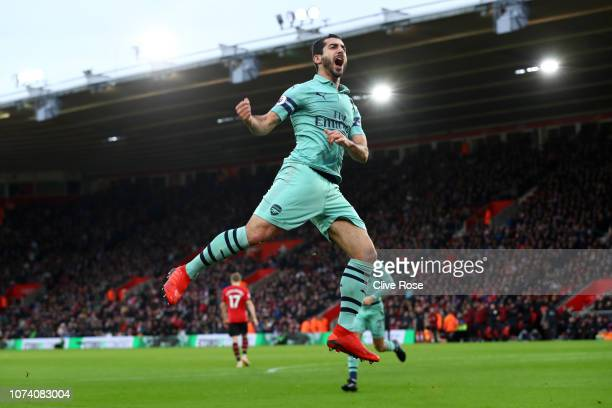 Henrikh Mkhitaryan of Arsenal celebrates after scoring his team's first goal during the Premier League match between Southampton FC and Arsenal FC at...