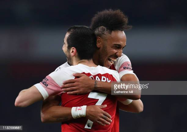 Henrikh Mkhitaryan of Arsenal celebrates after scoring his team's second goal with Pierre-Emerick Aubameyang of Arsenal during the Premier League...