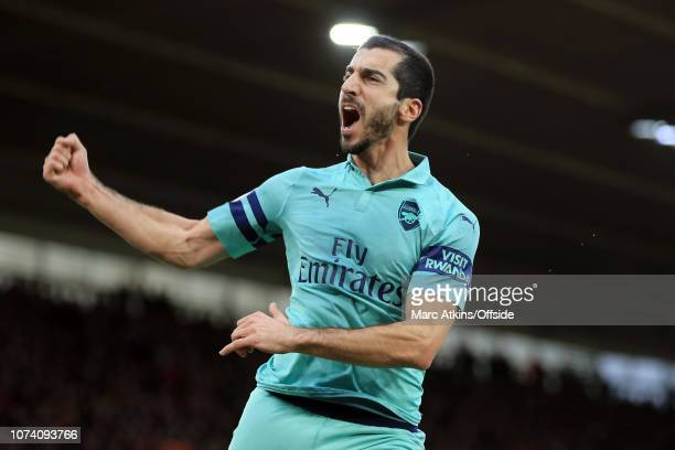 Henrikh Mkhitaryan of Arsenal celebrates scoring their 1st goal during the Premier League match between Southampton FC and Arsenal FC at St Mary's...