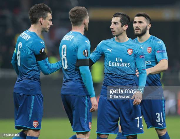 Henrikh Mkhitaryan of Arsenal celebrates the victory with his teammates Laurent Koscielny Aaron Ramsey and Sead Kolasinac at the end of UEFA Europa...