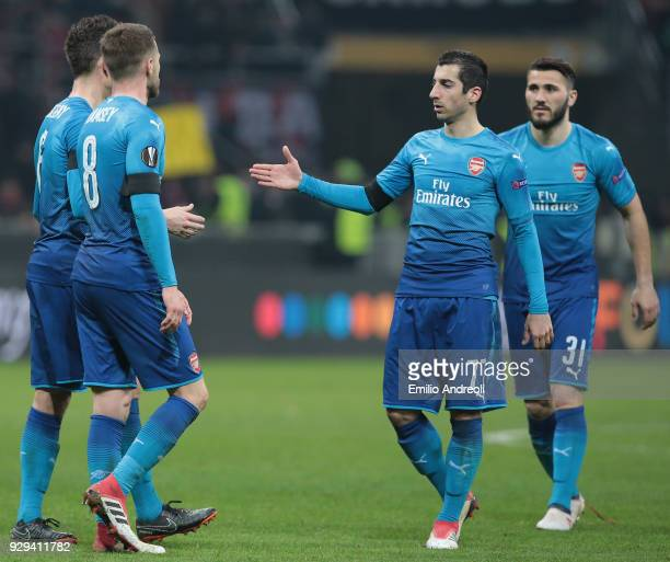 Henrikh Mkhitaryan of Arsenal celebrates the victory with his teammates Laurent Koscielny Aaron Ramsey and Sead Kolasinac at the end of UEFA Europa...