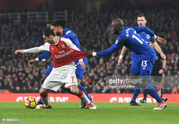 Henrikh Mkhitaryan of Arsenal challenged by Eliaquim Mangala of Everton during the Premier League match between Arsenal and Everton at Emirates...
