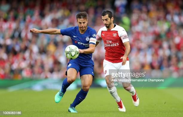 Henrikh Mkhitaryan of Arsenal competes for the ball with Cesar Azpilicueta of Chelsea during the International Champions Cup 2018 match between...