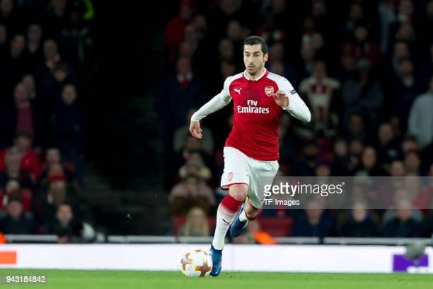 Henrikh Mkhitaryan of Arsenal controls the ball during the UEFA UEFA Europa League QuarterFinal first leg match between Arsenal FC and CSKA Moskva at...