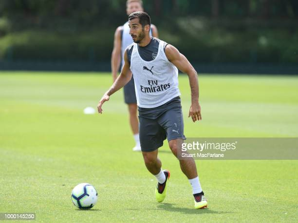 Henrikh Mkhitaryan of Arsenal during a training session at London Colney on July 16 2018 in St Albans England