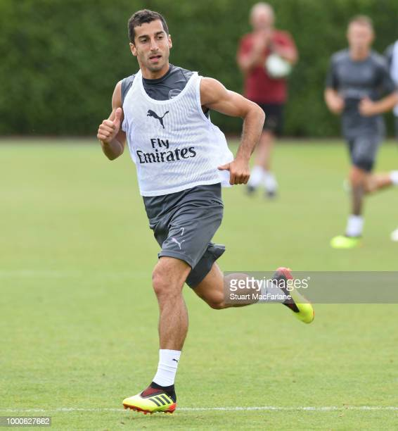 Henrikh Mkhitaryan of Arsenal during a training session at London Colney on July 17 2018 in St Albans England