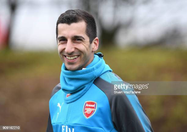 Henrikh Mkhitaryan of Arsenal during a training session at London Colney on January 23 2018 in St Albans England