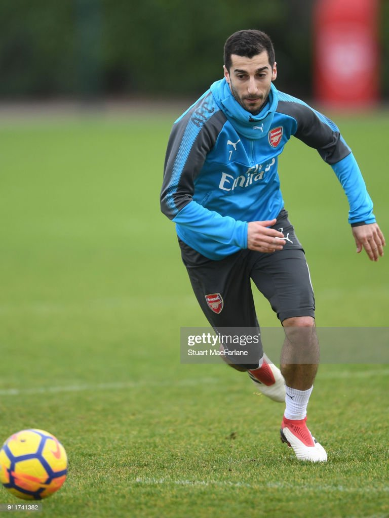 Henrikh Mkhitaryan of Arsenal during a training session at London Colney on January 29, 2018 in St Albans, England.