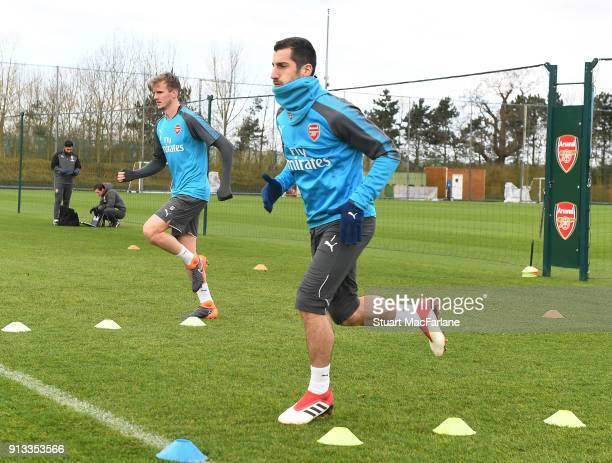 Henrikh Mkhitaryan of Arsenal during a training session at London Colney on February 2 2018 in St Albans England