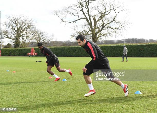 Henrikh Mkhitaryan of Arsenal during a training session at London Colney on March 14 2018 in St Albans England