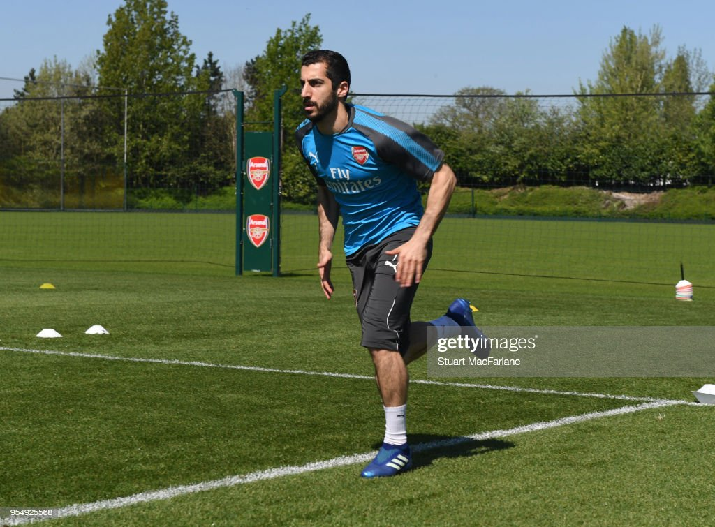 Henrikh Mkhitaryan of Arsenal during a training session at London Colney on May 5 2018 in St Albans England