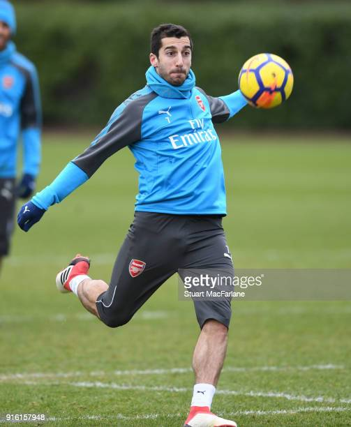 Henrikh Mkhitaryan of Arsenal during a training session at the London Colney on February 9 2018 in St Albans United Kingdom
