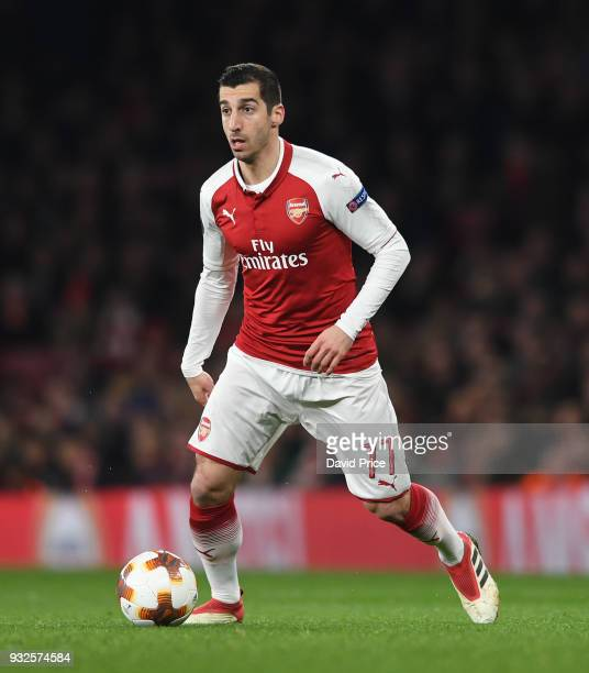 Henrikh Mkhitaryan of Arsenal during the match between Arsenal and AC Milan at Emirates Stadium on March 15 2018 in London England