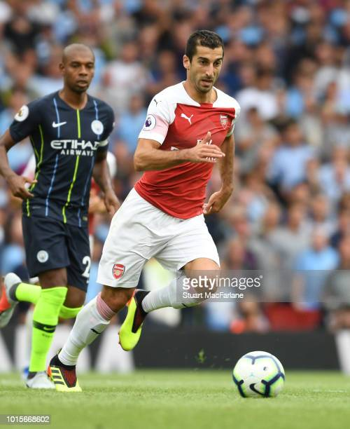 Henrikh Mkhitaryan of Arsenal during the Premier League match between Arsenal FC and Manchester City at Emirates Stadium on August 12 2018 in London...
