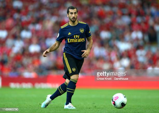Henrikh Mkhitaryan of Arsenal during the Premier League match between Liverpool FC and Arsenal FC at Anfield on August 24 2019 in Liverpool United...
