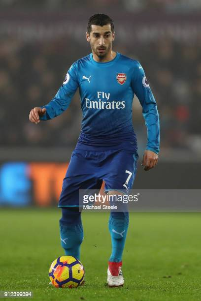 Henrikh Mkhitaryan of Arsenal during the Premier League match between Swansea City and Arsenal at Liberty Stadium on January 30 2018 in Swansea Wales