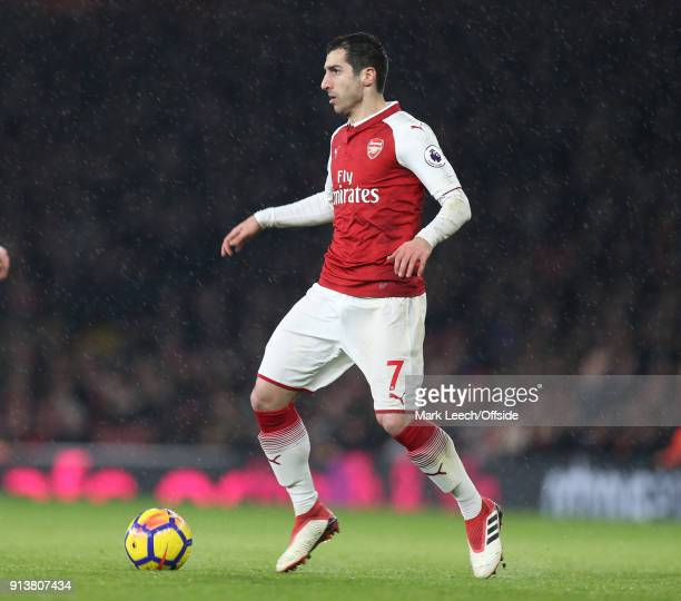 Henrikh Mkhitaryan of Arsenal during the Premier League match between Arsenal and Everton at Emirates Stadium on February 3 2018 in London England