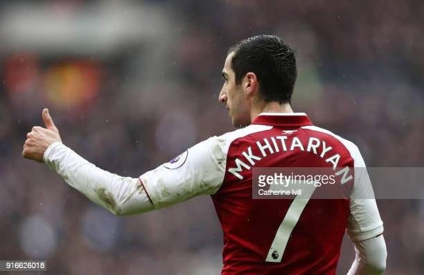 Henrikh Mkhitaryan of Arsenal during the Premier League match between Tottenham Hotspur and Arsenal at Wembley Stadium on February 10 2018 in London...