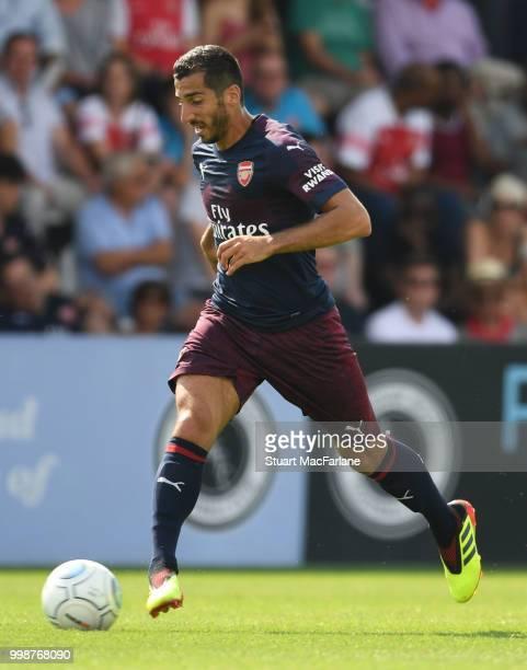 Henrikh Mkhitaryan of Arsenal during the preseason friendly between Boreham Wood and Arsenal at Meadow Park on July 14 2018 in Borehamwood England