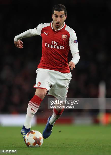 Henrikh Mkhitaryan of Arsenal during the UEFA Europa League quarter final leg one match between Arsenal FC and CSKA Moskva at Emirates Stadium on...