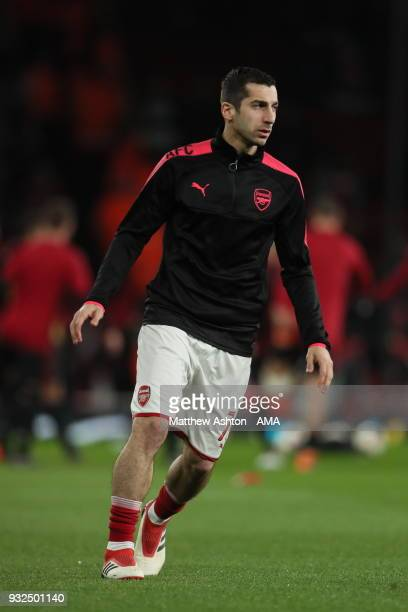 Henrikh Mkhitaryan of Arsenal during the UEFA Europa League Round of 16 Second Leg match between Arsenal and AC Milan at Emirates Stadium on March 15...