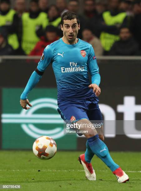 Henrikh Mkhitaryan of Arsenal FC in action during UEFA Europa League Round of 16 match between AC Milan and Arsenal at the San Siro on March 8 2018...