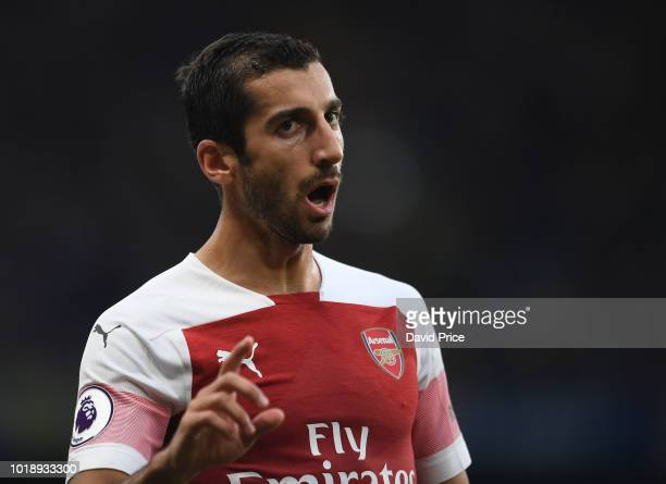Henrikh Mkhitaryan of Arsenal gestures during the Premier League match between Chelsea FC and Arsenal FC at Stamford Bridge on August 18 2018 in...