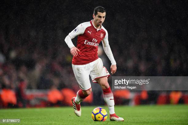 Henrikh Mkhitaryan of Arsenal in action during the Premier League match between Arsenal and Everton at Emirates Stadium on February 3 2018 in London...