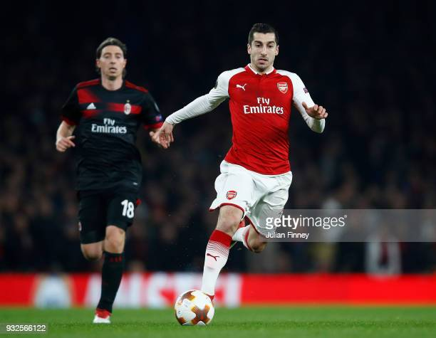 Henrikh Mkhitaryan of Arsenal in action during the UEFA Europa League Round of 16 match between Arsenal and AC Milan at Emirates Stadium on March 15...
