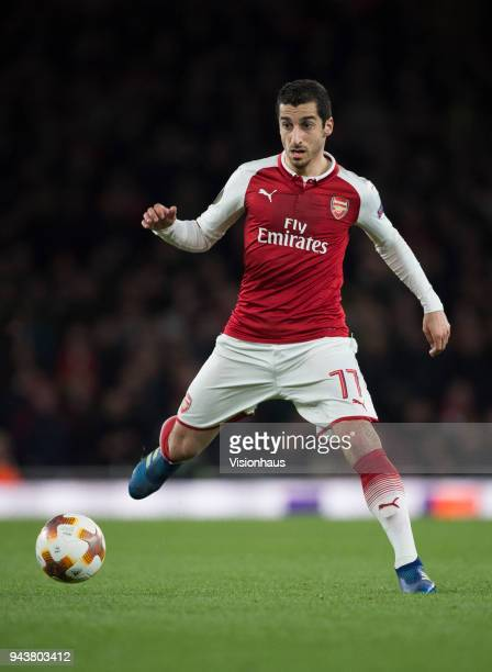 Henrikh Mkhitaryan of Arsenal in action during the UEFA Europa League Quarter final 1st Leg match between Arsenal and CSKA Moscow at the Emirates...