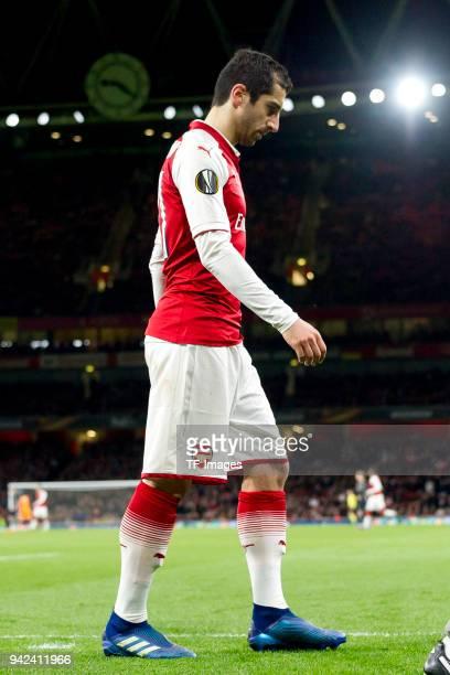 Henrikh Mkhitaryan of Arsenal injured during the UEFA UEFA Europa League QuarterFinal first leg match between Arsenal FC und CSKA Moskva at Emirates...