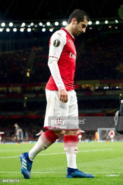 Henrikh Mkhitaryan of Arsenal is injured during the UEFA UEFA Europa League QuarterFinal first leg match between Arsenal FC and CSKA Moskva at...