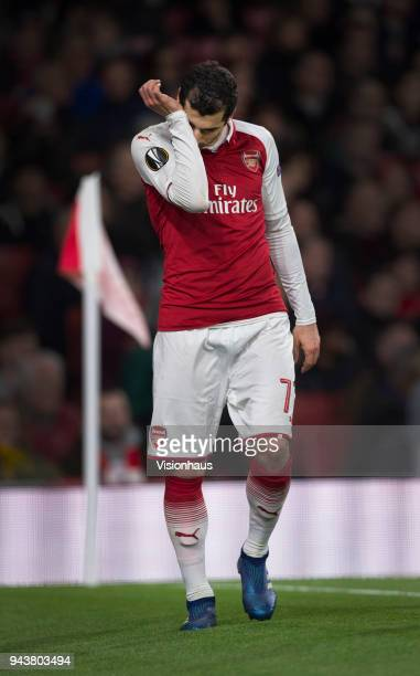 Henrikh Mkhitaryan of Arsenal is taken off injured during the UEFA Europa League Quarter final 1st Leg match between Arsenal and CSKA Moscow at the...