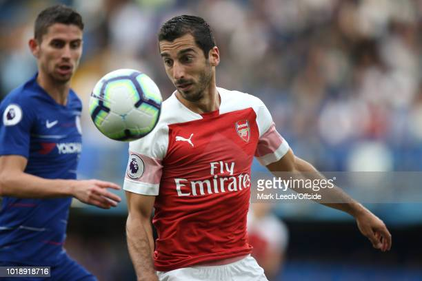 Henrikh Mkhitaryan of Arsenal looks at the ball during the Premier League match between Chelsea FC and Arsenal FC at Stamford Bridge on August 18...
