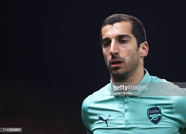 Henrikh Mkhitaryan of Arsenal looks on during the Premier League match between Watford FC and Arsenal FC at Vicarage Road on April 15, 2019 in...